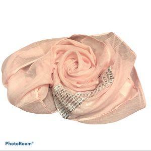 AVON sheer pale pink sequinned scarf